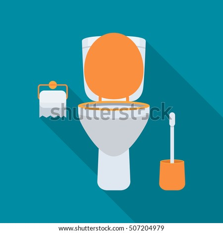 Toilet with a long shadow. Paper and brush elements. flat vector illustration