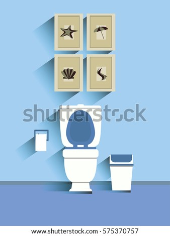Toilet with display with wipes with dump. illustration flat