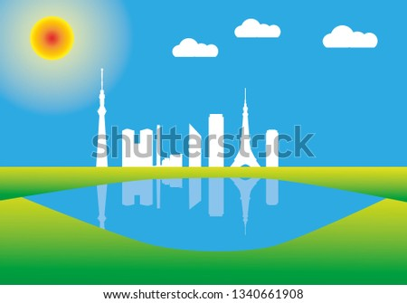 Tokyo city skyline in colorful background