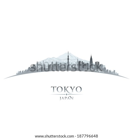 Tokyo Japan city skyline silhouette Vector illustration