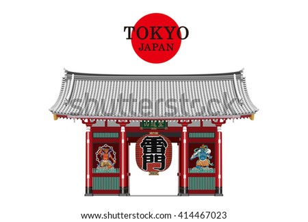 TOKYO,JAPAN,Kaminarimon vector Illustration(red and white).Kaminari-mon (Thunder-Gate) is an outer gate of Senso-ji Temple. kaminarimon is a famous tourist attraction of Asakusa in Tokyo,Japan.