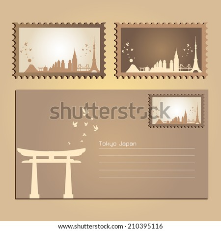 tokyo japan  postcard and stamp