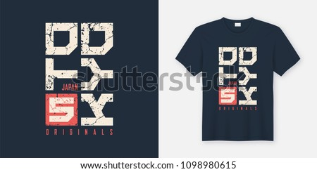 Tokyo Japan textured t-shirt and apparel design, typography, print, vector illustration. Global swatches.