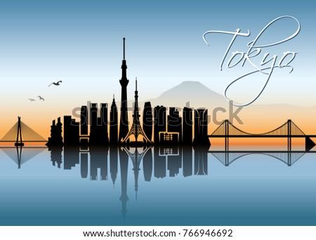 tokyo skyline   japan   vector