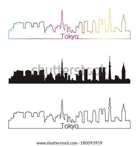 tokyo skyline linear style with