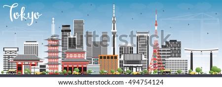 tokyo skyline with gray