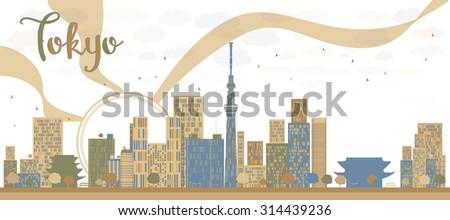 tokyo skyline with skyscrapers