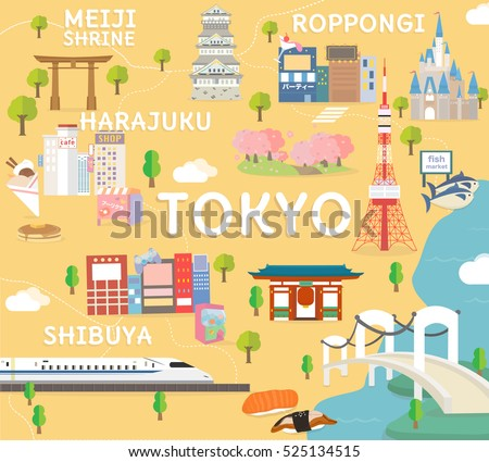 tokyo travel map in flat