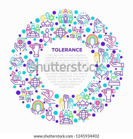 Tolerance concept in circle with thin line icons: gender, racial, religious, sexual orientation, interclass, for disability, respect, self-expression, human rights. Vector illustration for print media