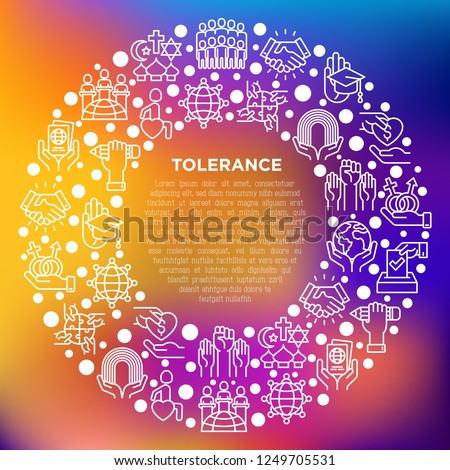 Tolerance concept in circle with thin line icons: gender, racial, religious, sexual orientation, disability, respect, self-expression, human rights, democracy. Vector illustration for print media.