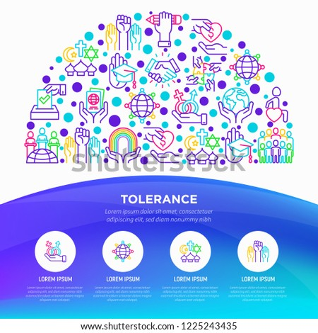 Tolerance concept in half circle with thin line icons: gender, racial, religious, sexual orientation, disability, respect, self-expression, human rights, democracy. Vector illustration.