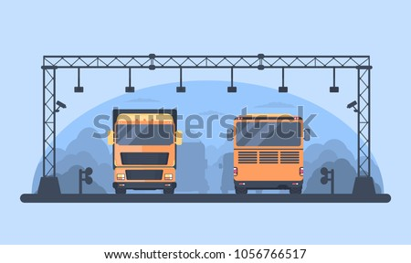 Toll gate construction on highway. Arch for automatic charging on a pay road. High-occupancy toll lane. Lorry and buson road. Vector illustration.