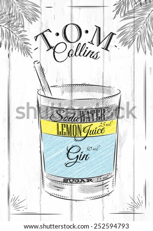 tom collins cocktail in vintage