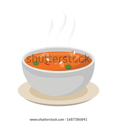 TOM YUM KUNG thai foods with shrimp vector design cartoon style