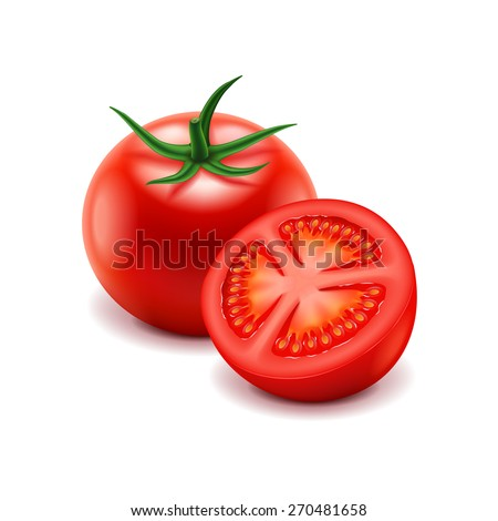 tomato and slice isolated on