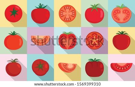 Tomato icons set. Flat set of tomato vector icons for web design