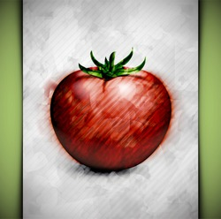 Tomato in watercolor style. Eps 10