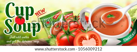 Tomato instant soup, refreshing tomato soup with fruits and package design in 3d illustration, bokeh background