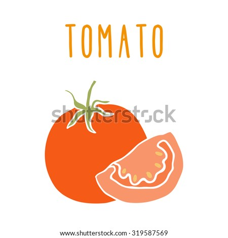 Tomato isolated on white. Vector hand drawn illustration #319587569