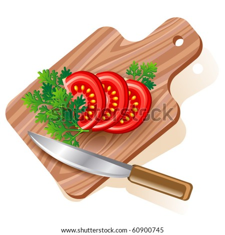 Tomato on cutting board. Vector eps10