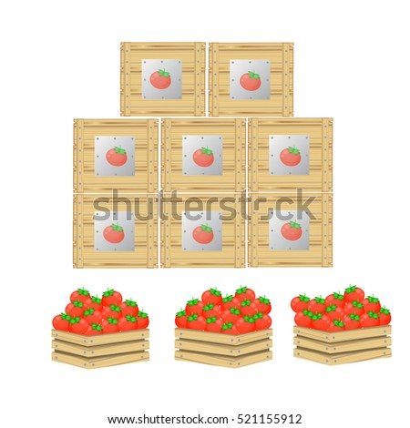 tomato on wooden box isolated...