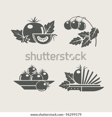 tomato products set icons vector illustration