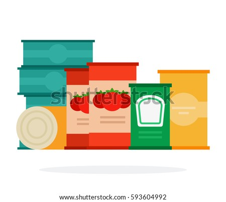 Tomato sauce and soup in cans vector flat material design isolated on white