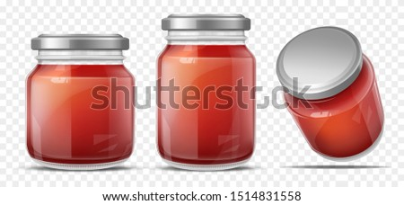 Tomato sauce canned in glass jars with screw metal lid, side, perspective view. Vegetables home preservation. Ketchup, taco or tomato juice conservation isolated, 3d realistic vector illustration set Photo stock ©