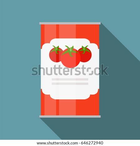 Tomato Sauce, Soup Can Template in Modern Flat Style Isolated on White. Material for Design. Vector Illustration EPS10