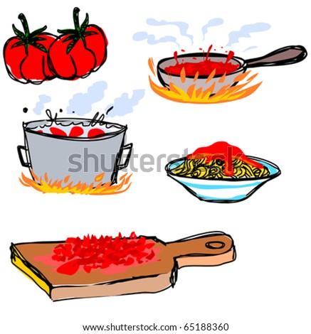 Tomato Sauce Spaghetti Recipe Icons