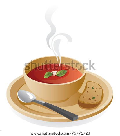 tomato soup in a bowl with piece of toast.