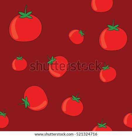 tomato vegetable vector seamless pattern, tamato falling vector graphics