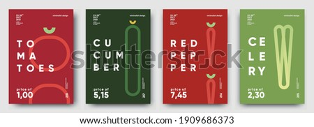 Tomatoes, Cucumber, Red pepper, Celery. Price tag, label or poster. Set of posters, vegetables and herbs in a minimalist design. Flat vector illustration.