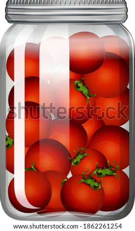 Tomatoes in the glass jar illustration