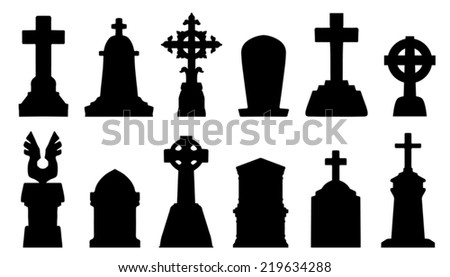 tombstone silhouettes on the white background