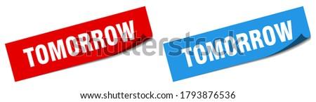 tomorrow paper peeler sign set. tomorrow sticker ストックフォト ©