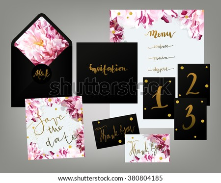 Tony spring inspired wedding invitation suite vector template. Pink and white variegated peony floral textured invitation card, table cards, menu and envelope with calligraphy elements.