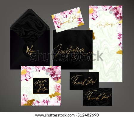 Tony wedding invitation suite vector template. Pink and white variegated peony floral textured card, menu envelope with calligraphy elements. Soft velvet, black marble textures.