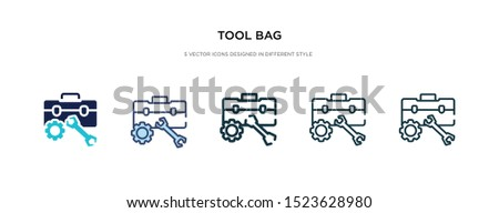 tool bag icon in different style vector illustration. two colored and black tool bag vector icons designed in filled, outline, line and stroke style can be used for web, mobile, ui