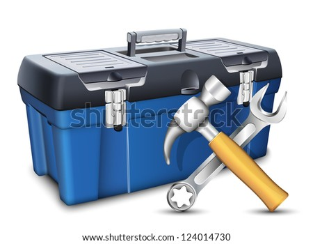 Tool box and tools. Vector illustration - stock vector