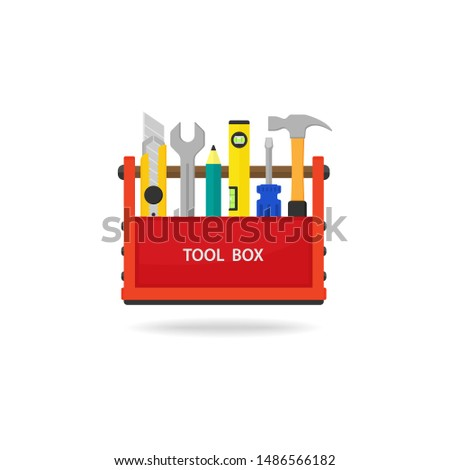 Tool box. Set isolated icons set building tools repair, illustration, isolated on white background - Vector