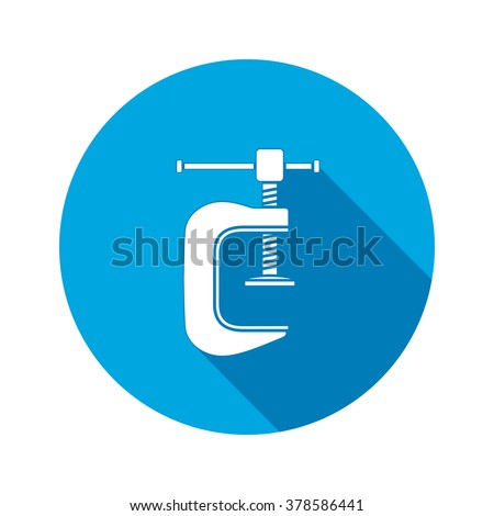 Tool icon. Clamp vise vice, joiners cramp, G-press instrument. Industrial, fixing, support symbol. White sign on round blue flat button. Vector