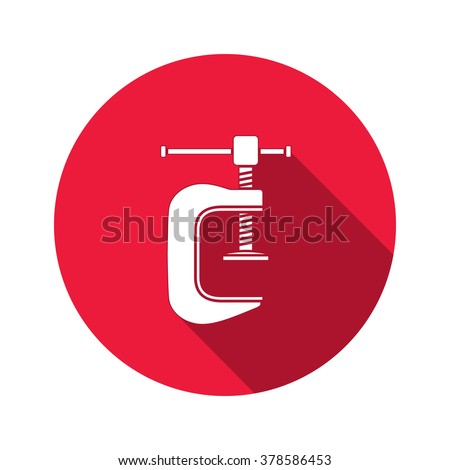 Tool icon. Clamp vise vice, joiners cramp, G-press instrument. Industrial, fixing, support symbol. White sign on round red flat button. Vector