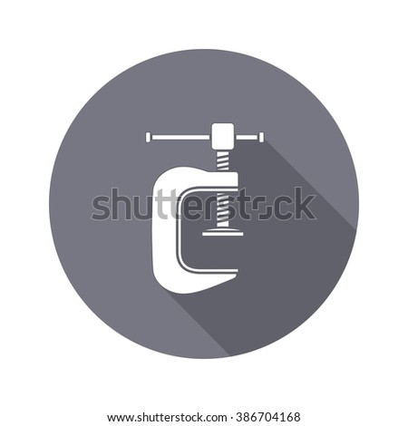 Tool icon. Clamp vise vice, joiners cramp, G-press instrument. Industrial, fixing, support symbol. White sign on round flat button. Vector