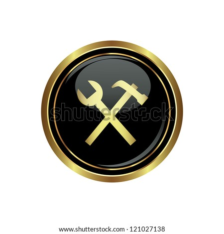Tool icon on the black with gold round button. Vector illustration