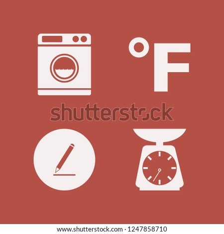 tool icon. tool vector icons set washer, fahrenheit, kitchen scale and pencil