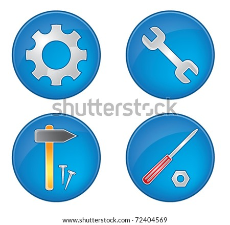 Tool icons collection vector illustration color set