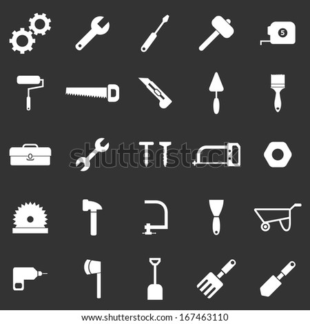Tool icons on black background, stock vector