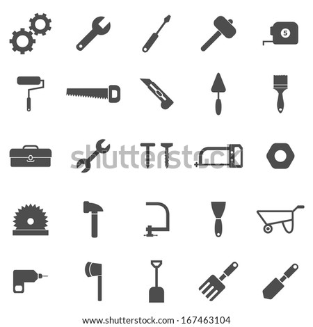 Tool icons on white background, stock vector