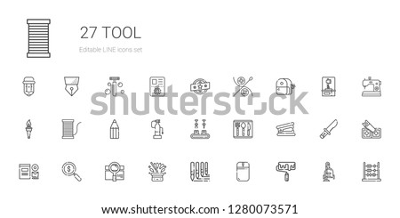 tool icons set. Collection of tool with roller, mouse, brushes, hat, search, loupe, branding, stapler remover, cutlery, industrial robot, fire extinguisher. Editable and scalable tool icons.